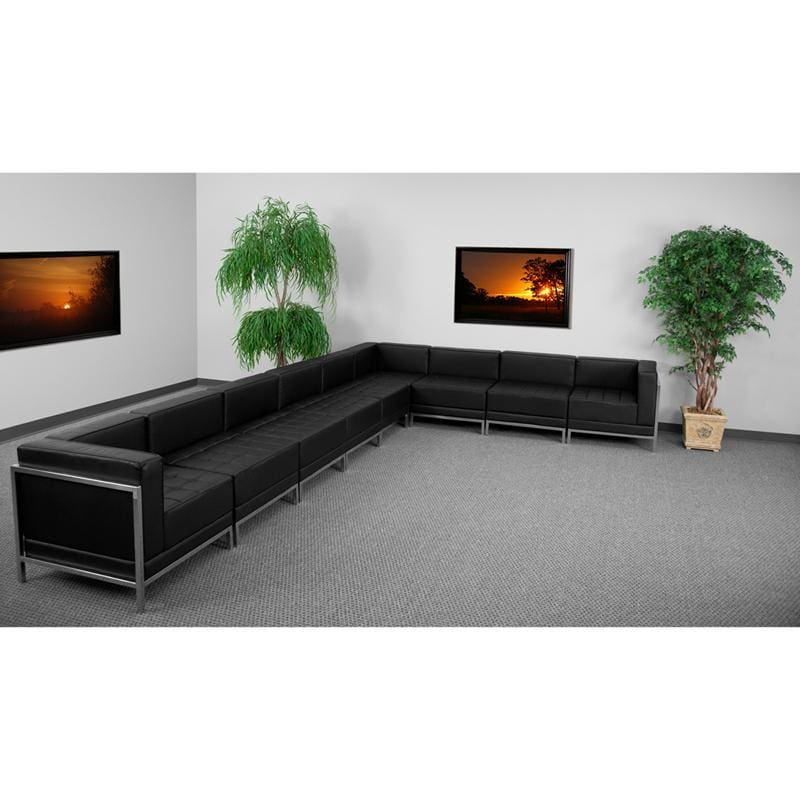 Hercules Imagination Series Black Leather Sectional Configuration 9 Pieces - Reception Furniture Sets