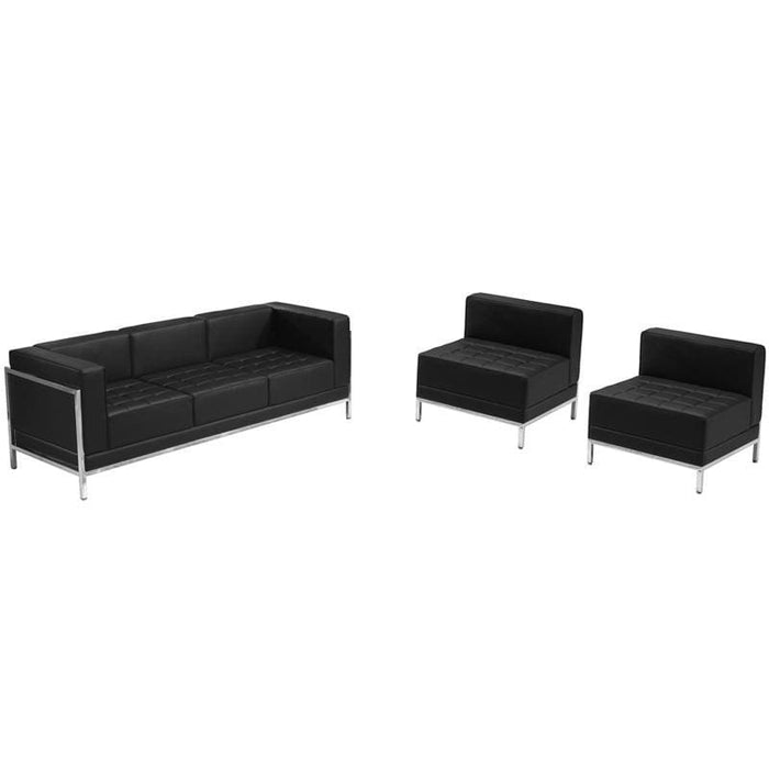 Hercules Imagination Series Black Leather Sofa & Chair Set - Reception Furniture Sets
