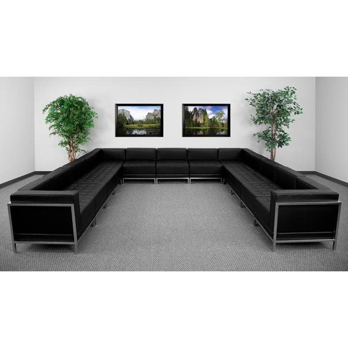 Hercules Imagination Series Black Leather U-Shape Sectional Configuration 13 Pieces - Reception Furniture Sets
