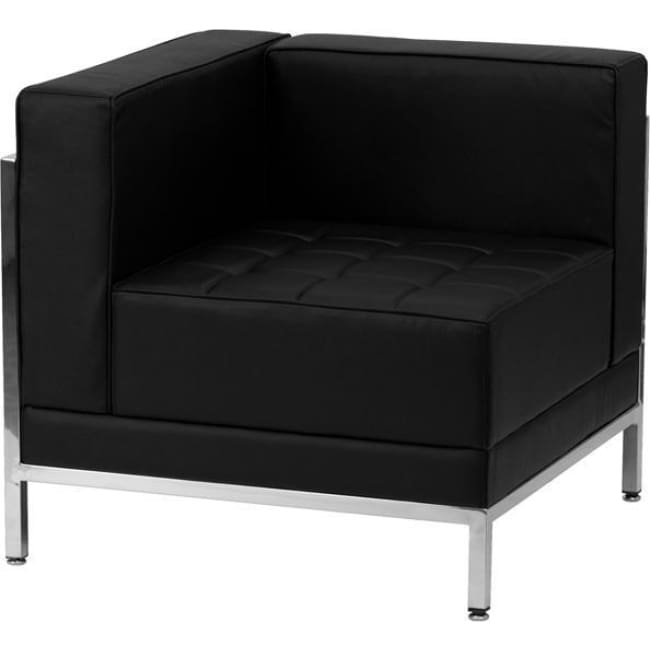 Hercules Imagination Series Contemporary Black Leather Left Corner Chair With Encasing Frame - Reception Furniture - Chairs
