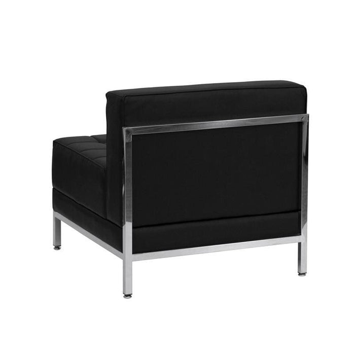 Hercules Imagination Series Contemporary Black Leather Middle Chair - Reception Furniture - Chairs