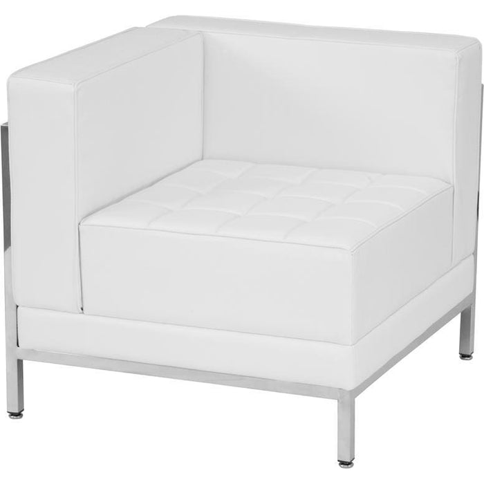 Hercules Imagination Series Contemporary Melrose White Leather Left Corner Chair With Encasing Frame - Reception Furniture - Chairs