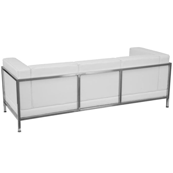 Hercules Imagination Series Contemporary Melrose White Leather Sofa With Encasing Frame - Reception Furniture - Sofas