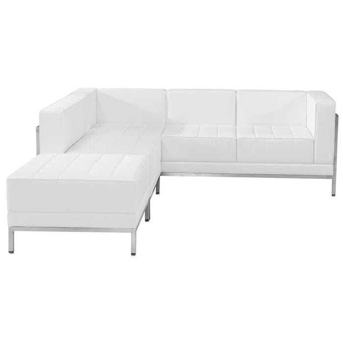 Hercules Imagination Series Melrose White Leather Sectional Configuration 3 Pieces - Reception Furniture Sets