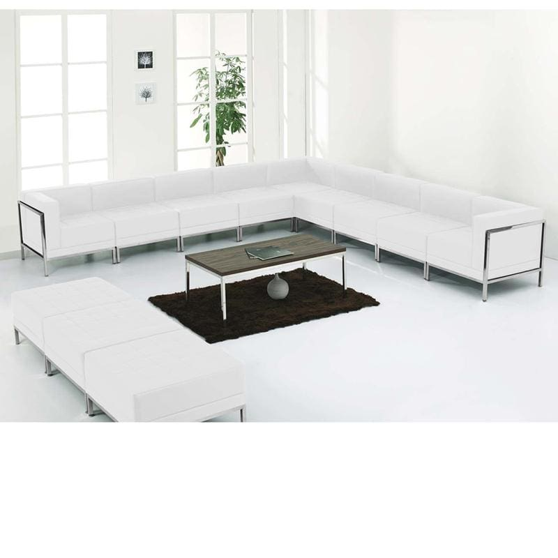Hercules Imagination Series Melrose White Leather Sectional & Ottoman Set 12 Pieces - Reception Furniture Sets
