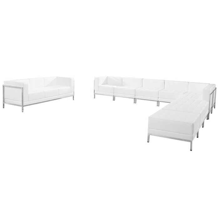 Hercules Imagination Series Melrose White Leather Sectional & Sofa Set 10 Pieces - Reception Furniture Sets