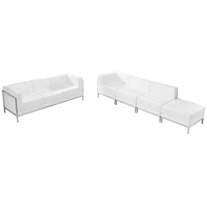 Hercules Imagination Series Melrose White Leather Sofa & Lounge Chair Set 5 Pieces - Reception Furniture Sets