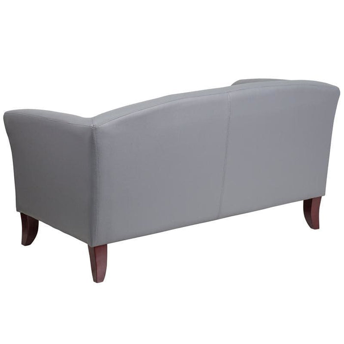 Hercules Imperial Series Gray Leather Loveseat - Reception Furniture - Loveseats