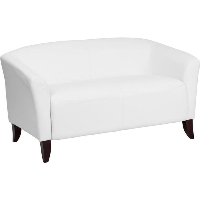 Hercules Imperial Series White Leather Loveseat - Reception Furniture - Loveseats
