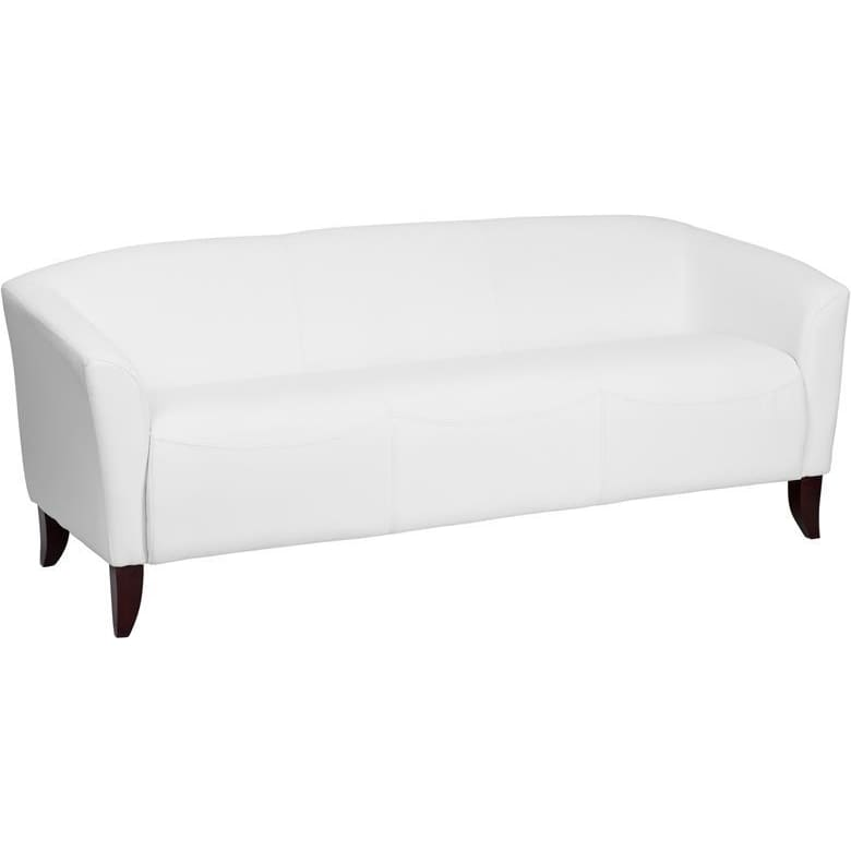Hercules Imperial Series White Leather Sofa - Reception Furniture - Sofas