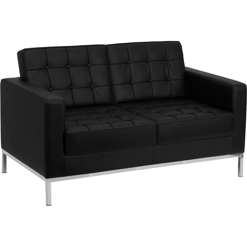 Hercules Lacey Series Contemporary Black Leather Loveseat With Stainless Steel Frame - Reception Furniture - Loveseats