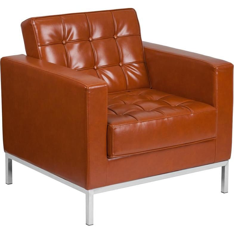 Hercules Lacey Series Contemporary Cognac Leather Chair With Stainless Steel Frame - Reception Furniture - Chairs