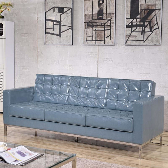 Hercules Lacey Series Contemporary Gray Leather Sofa With Stainless Steel Frame - Reception Furniture - Sofas
