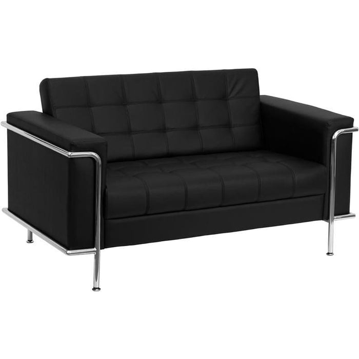 Hercules Lesley Series Contemporary Black Leather Loveseat With Encasing Frame - Reception Furniture - Loveseats