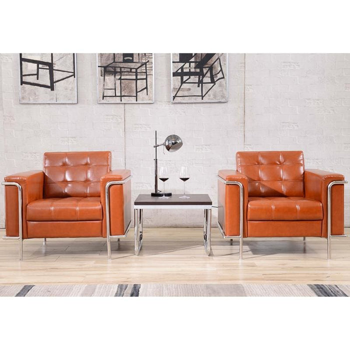 Hercules Lesley Series Contemporary Cognac Leather Chair With Encasing Frame - Reception Furniture - Chairs