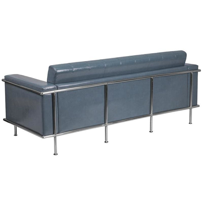 Hercules Lesley Series Contemporary Gray Leather Sofa With Encasing Frame - Reception Furniture - Sofas