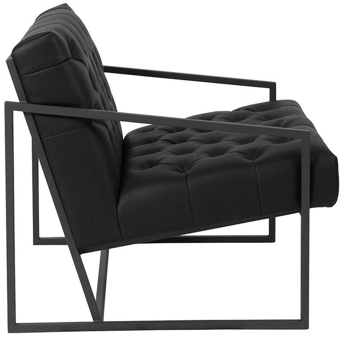 Hercules Madison Series Black Leather Tufted Lounge Chair - Reception Furniture - Chairs