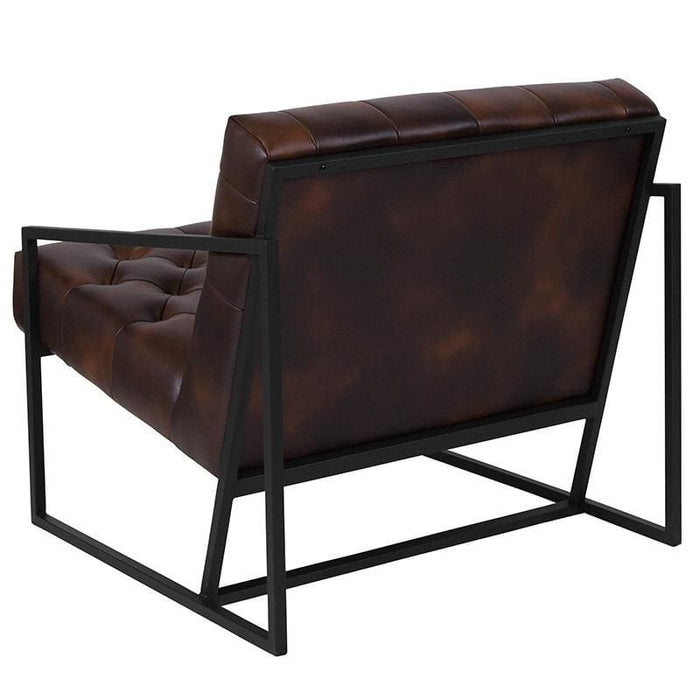 Hercules Madison Series Bomber Jacket Leather Tufted Lounge Chair - Reception Furniture - Chairs