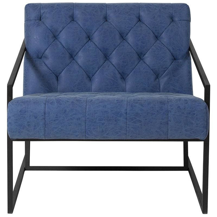 Hercules Madison Series Retro Blue Leather Tufted Lounge Chair - Reception Furniture - Chairs