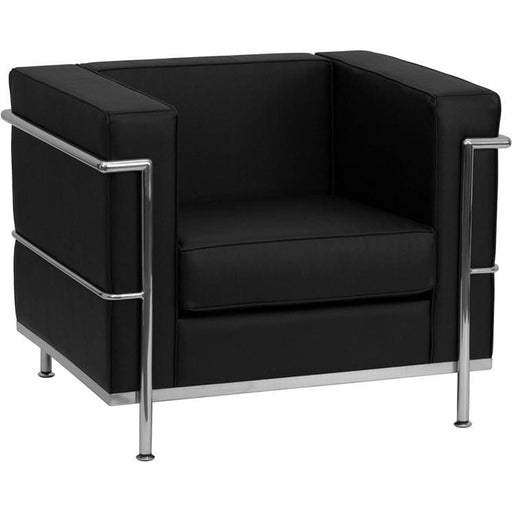 Hercules Regal Series Contemporary Black Leather Chair With Encasing Frame - Reception Furniture - Chairs