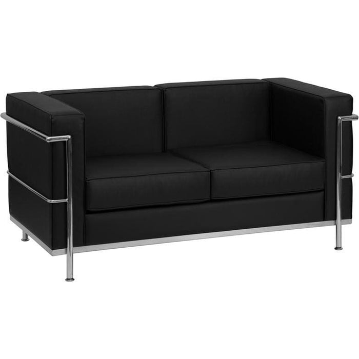 Hercules Regal Series Contemporary Black Leather Loveseat With Encasing Frame - Reception Furniture - Loveseats