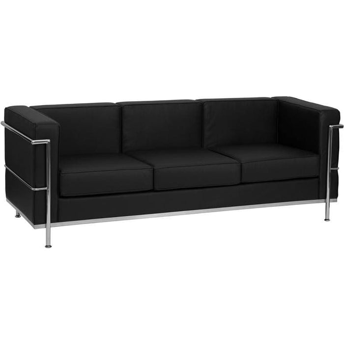 Hercules Regal Series Contemporary Black Leather Sofa With Encasing Frame - Reception Furniture - Sofas