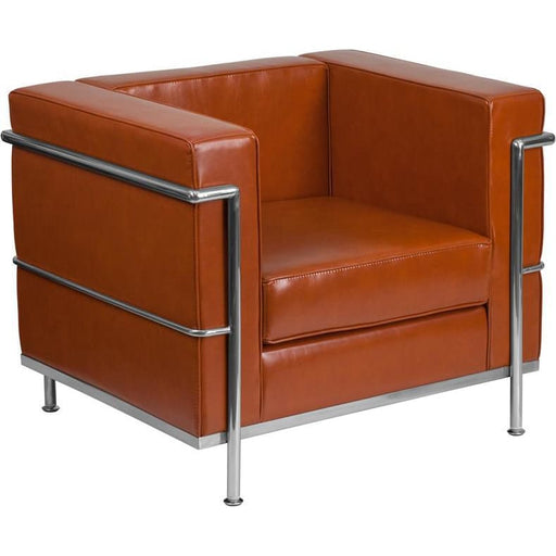Hercules Regal Series Contemporary Cognac Leather Chair With Encasing Frame - Reception Furniture - Chairs
