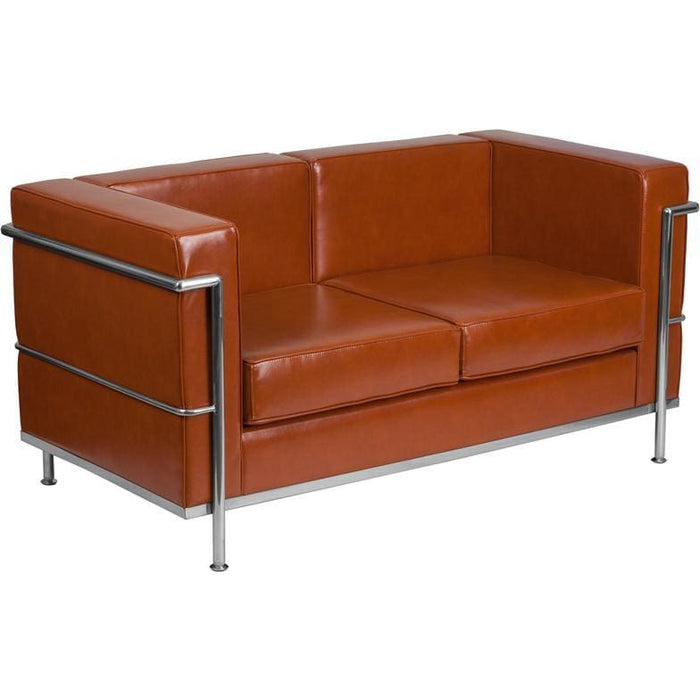 Hercules Regal Series Contemporary Cognac Leather Loveseat With Encasing Frame - Reception Furniture - Loveseats