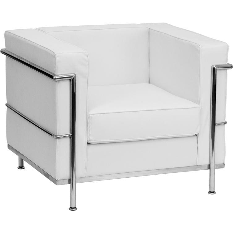 Hercules Regal Series Contemporary Melrose White Leather Chair With Encasing Frame - Reception Furniture - Chairs