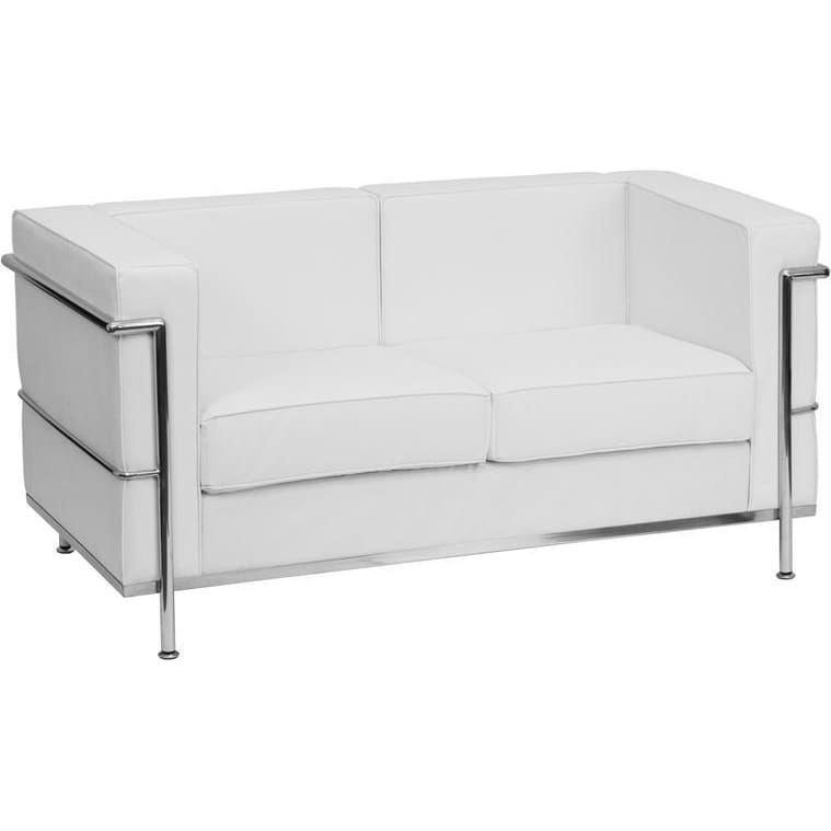 Hercules Regal Series Contemporary Melrose White Leather Loveseat With Encasing Frame - Reception Furniture - Loveseats