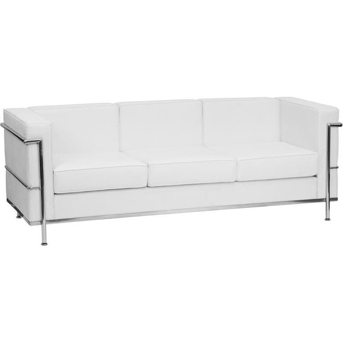 Hercules Regal Series Contemporary Melrose White Leather Sofa With Encasing Frame - Reception Furniture - Sofas