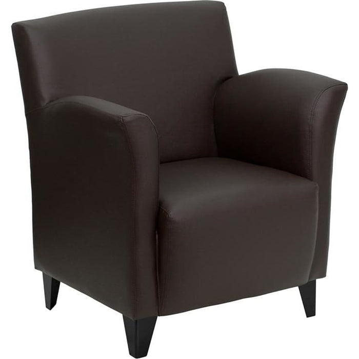 Hercules Roman Series Brown Leather Lounge Chair - Reception Furniture - Chairs