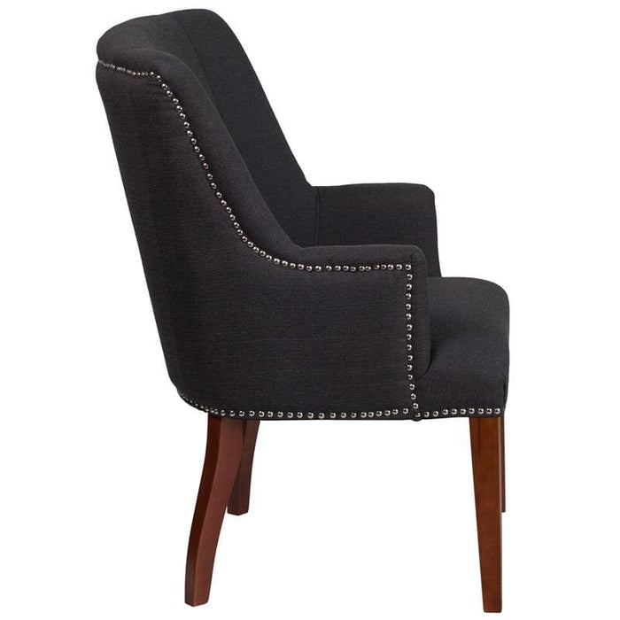 Hercules Sculpted Comfort Series Black Fabric Side Reception Chair - Reception Furniture - Chairs