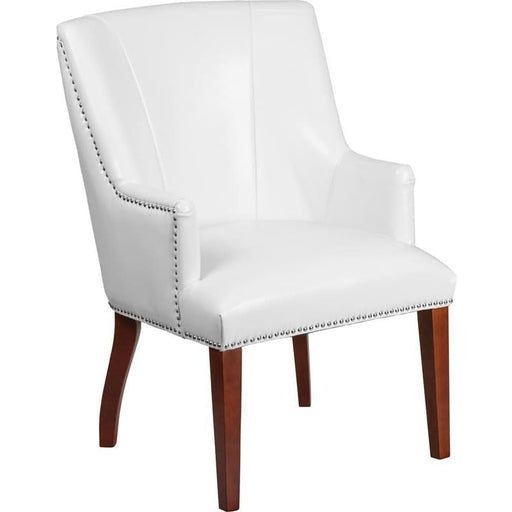 Hercules Sculpted Comfort Series White Leather Side Reception Chair - Reception Furniture - Chairs