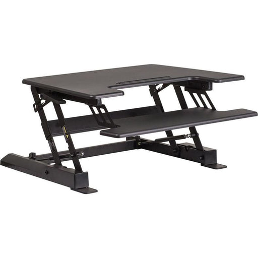 Hercules Series 28.25W Black Sit / Stand Height Adjustable Desk With Height Lock Feature And Keyboard Tray - Desks