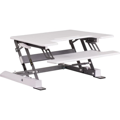 Hercules Series 28.25W White Sit / Stand Height Adjustable Desk With Height Lock Feature And Keyboard Tray - Desks