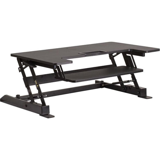 Hercules Series 36.25W Black Sit / Stand Height Adjustable Desk With Height Lock Feature And Keyboard Tray - Desks