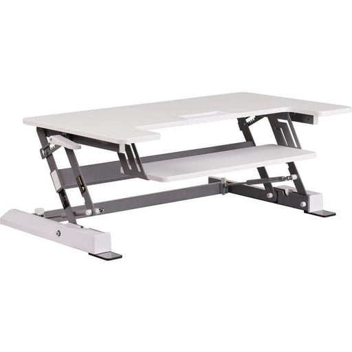 Hercules Series 36.25W White Sit / Stand Height Adjustable Desk With Height Lock Feature And Keyboard Tray - Desks