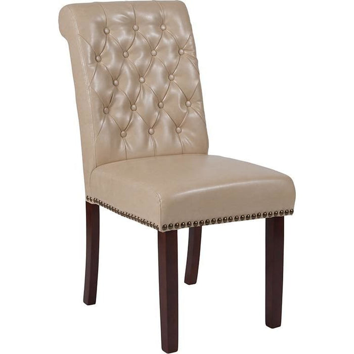 Hercules Series Beige Leather Parsons Chair With Rolled Back Nail Head Trim And Walnut Finish - Dining Chairs