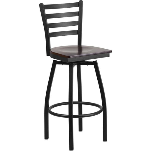 Hercules Series Black Ladder Back Swivel Metal Barstool - Walnut Wood Seat - Restaurant Barstools