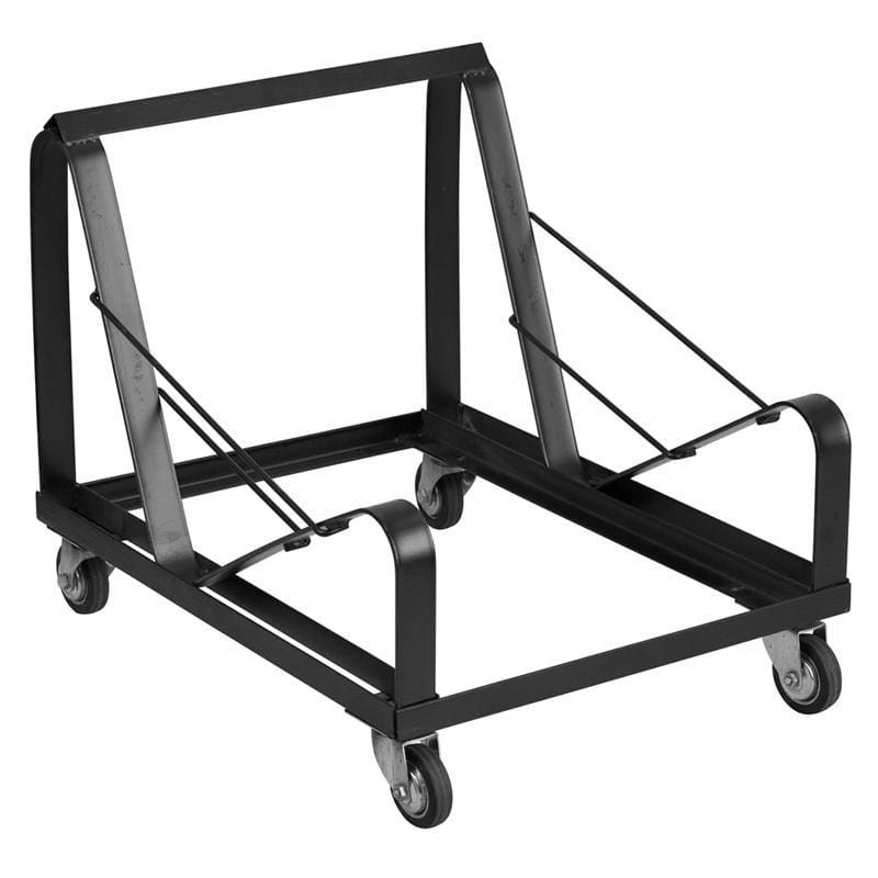 Hercules Series Black Steel Sled Base Stack Chair Dolly - Dollies