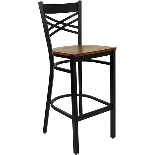 Hercules Series Black X Back Metal Restaurant Barstool - Cherry Wood Seat - Restaurant Barstools