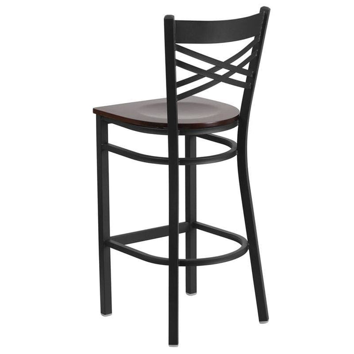 Hercules Series Black X Back Metal Restaurant Barstool - Walnut Wood Seat - Restaurant Barstools