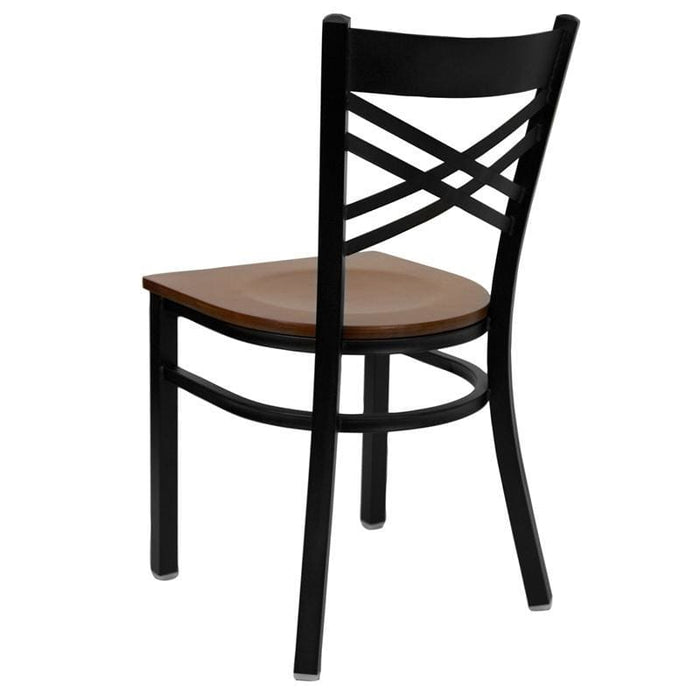 Hercules Series Black X Back Metal Restaurant Chair - Cherry Wood Seat - Restaurant Chairs