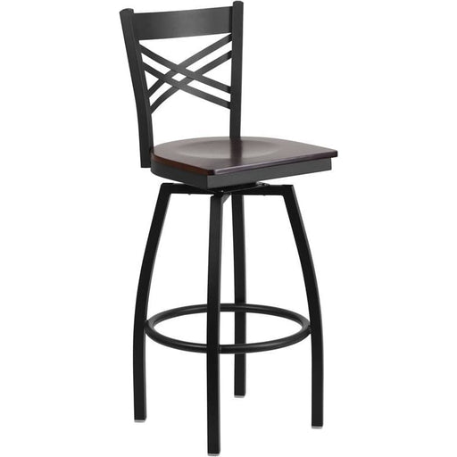 Hercules Series Black X Back Swivel Metal Barstool - Walnut Wood Seat - Restaurant Barstools