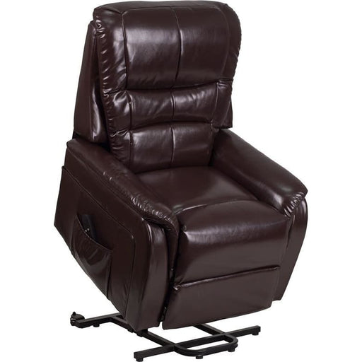 Hercules Series Brown Leather Remote Powered Lift Recliner - Recliners