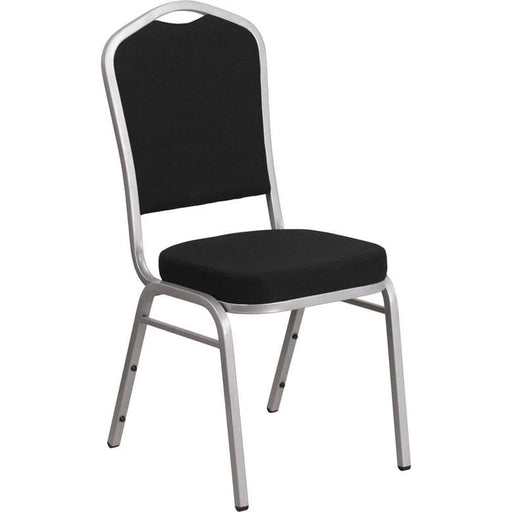Hercules Series Crown Back Stacking Banquet Chair In Black Fabric - Silver Frame - Banquet/church Stack Chairs