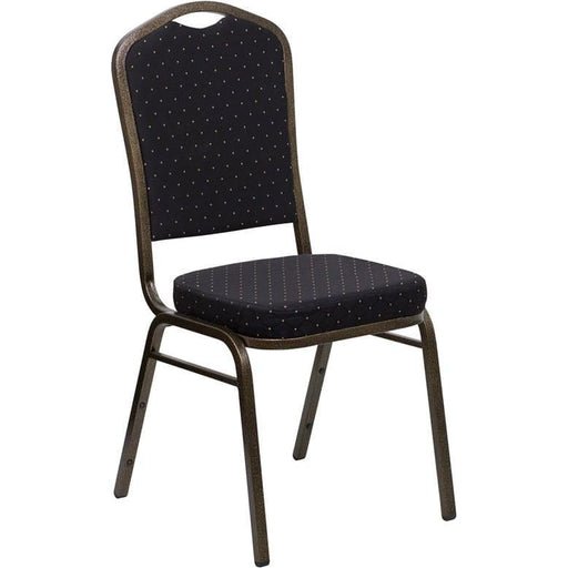 Hercules Series Crown Back Stacking Banquet Chair In Black Patterned Fabric - Gold Vein Frame - Banquet/church Stack Chairs