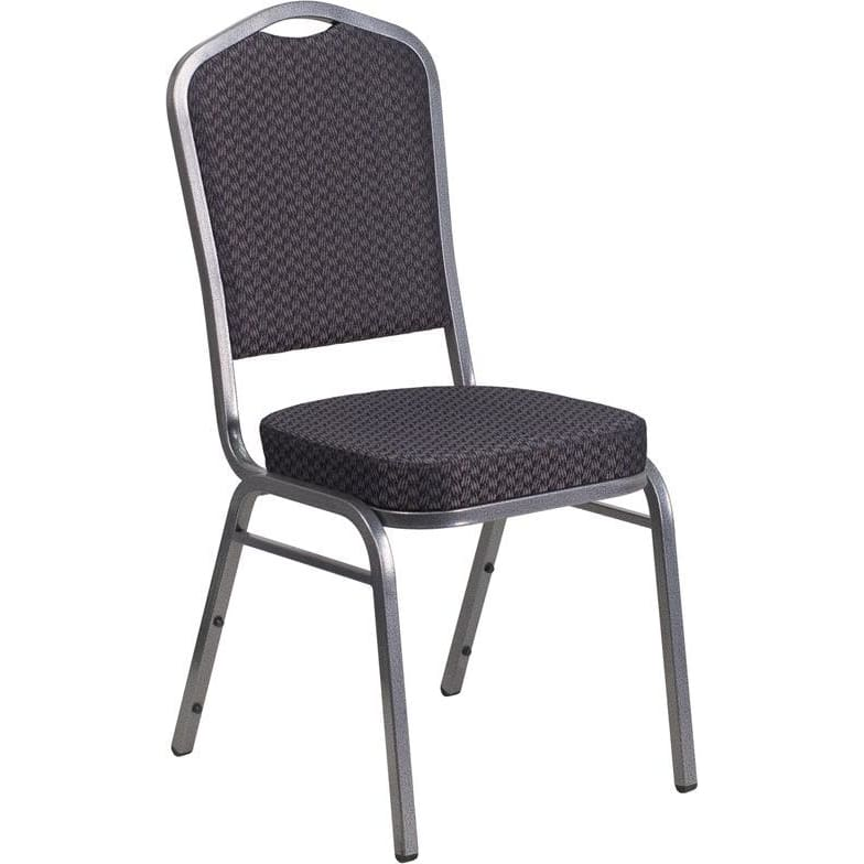 Hercules Series Crown Back Stacking Banquet Chair In Black Patterned Fabric - Silver Vein Frame - Banquet/church Stack Chairs