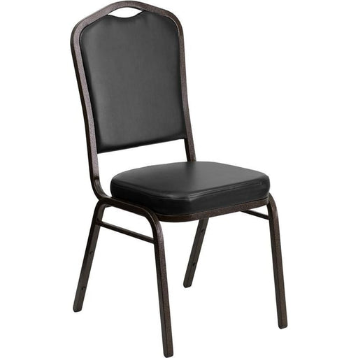 Hercules Series Crown Back Stacking Banquet Chair In Black Vinyl - Gold Vein Frame - Banquet/church Stack Chairs